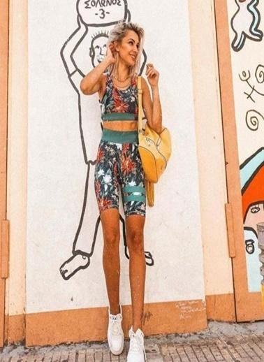 Fashion Tayt Desenli Biker Tayt Takım Renkli